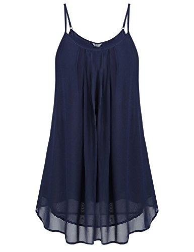 Zeagoo Women's Chiffon Flowy Sleeveless Layered-Look Relaxed Camisoles Tunic Tank Blue/XL ()