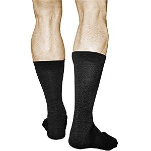 2 Pairs Men's MERINO WOOL Socks, Best Quality Warm Mid Calf Length, Vitsocks Classic, 10-10.5, black