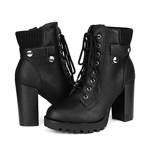 DREAM PAIRS Women's Fashion Ankle Boots - Chunky High Heel Booties