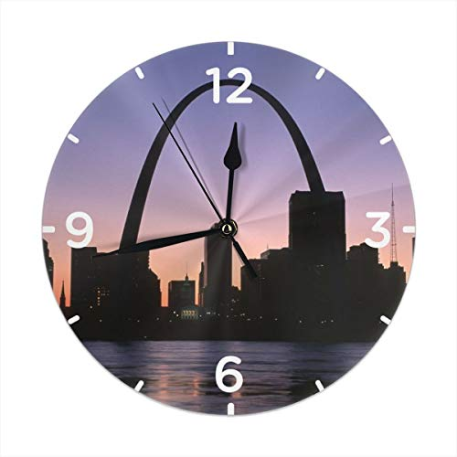 RZ GMSC St. Louis City Clock Number Decorative Wall Clock Non-Ticking Digital Plastic Battery Operated Round Easy to Read Home/Office/School Clock