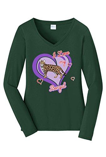Tenacitee Women's Bengal Cat Long Sleeve V Neck T-Shirt, Medium, Forest Green