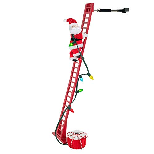Animated Climbing Santa On Ladder Christmas Xmas Decor Decoration Indoor, Climbs Up & Down Ladder, Plays 15 Christmas Carols with LED Bulbs, Sound Can Be Turned Off Or Adjusted by Wondershop