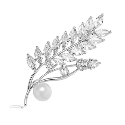 (lunaluce Elegant and Beautiful Pearl Silver Plated Heart Flower Zirconia Crystal Antique Brooch (Barley))