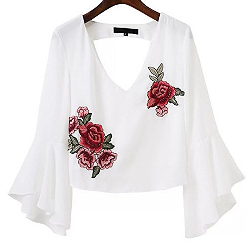 Crop Manches Chemisiers Blanc Nu t Col Sexy Dos vase V Shirt Broderie Blouses Haut T Top Femmes 5UxqawU0
