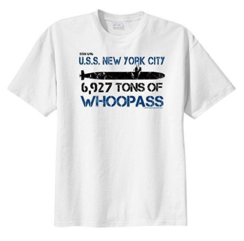 ShipShirtsTM Men's SSN 696 USS New York City 6,927 tons of Whoopass Sleeve T-Shirt White S