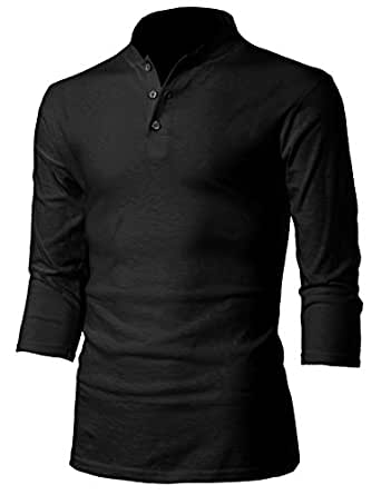 H2h mens casual slim fit long sleeve 3 button henley t for Mens long sleeve slim fit henley shirts