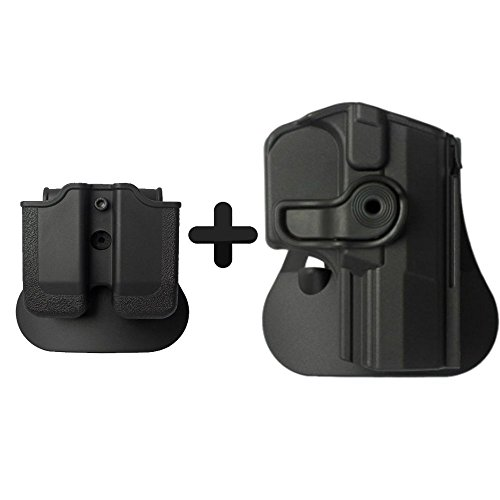 (IMI Defense Tactical Combo Z1420 Best Roto Retention Paddle Holster + Double Magazine Pouch Black Polymer For Walther M1 (PPQ Classic 9/.40), M2, Navy SD, P99Q Pistol Handgun)