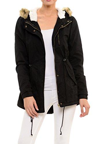 Womens Faux Fur Hoodie Sherpa Lined Military Safari Utility Fashion Parka Jacket Black 3XL