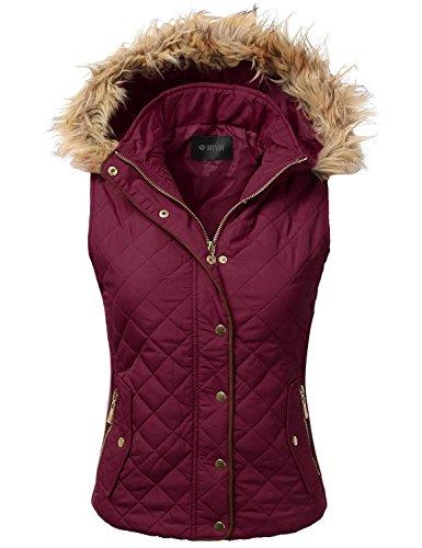 伴うシアー弾丸[(ドレス) DRESSIS] [Womens Quilted Fur Hoodie Padding Vest ] (並行輸入品)
