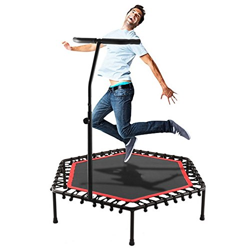 Cheesea Mini Trampoline with Adjustable Handle Bar Safe Fitness Bungee-Rope-System Trainer for Kids or Adults