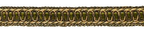 18' Olive (6 Yard Value Pack of Vintage 1 Inch (2.5cm) Wide Olive Green, Light Gold, White Gimp Braid Trim - Style# 100HG, Color: Olive Garden 010 (18 Ft / 6.5M))