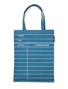 Out of Print Library Card Tote Bag Denim, 14 X 18 Inches