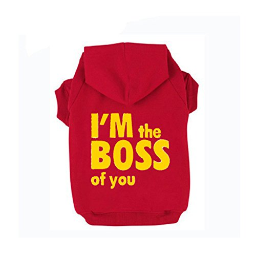 Hot Sale! I'm the boss of you Printed Pet Puppy Dog Clothes Hoodies Jumpers Tracksuits (L, Red) (Spider Man Noir Costume)