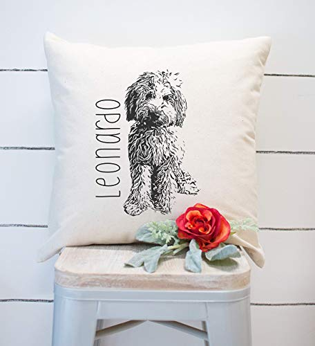Personalized Throw Pillow. Doodle Dog, Goldendoodle Puppy, Labradoodle Gift, Bernedoodle Gift, Custom Made Doodle, Decorative Dog Pillow