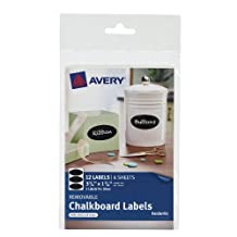 Avery Removable Chalkboard Labels, Oval, 1.75 x 3.75 inches, Pack of 12  (73303)