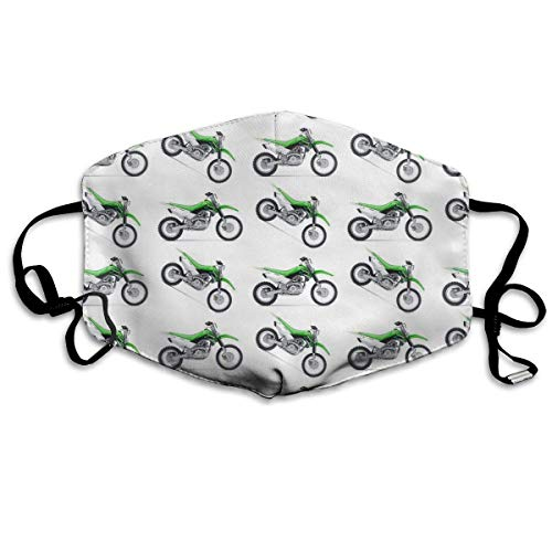 liu chunyans Green Dirt Bike Colorful Patterned Washable Reusable Safety Mask, Cotton Anti Dust Half Face Mouth Mask for Kids Teens Men Women Lovers Dustproof With Adjustable Ear Loops