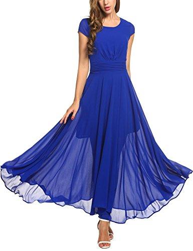 Zeagoo Women's Casual Cap Sleeve Ruched Chiffon Bridesmaid Maxi Dress, Blue, XX-Large