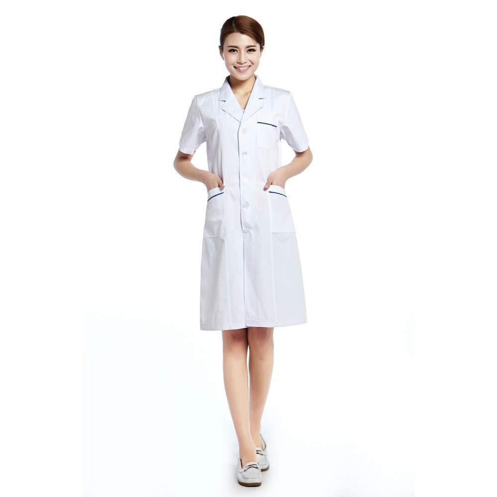 ESENHUANG Escudo De Laboratorio De Mangas Cortas Hospital Doctor Coat: Amazon.es: Ropa y accesorios