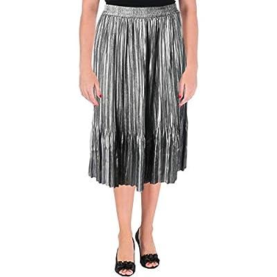 Scotch & Soda Womens Metallic Pleated Pleated Skirt