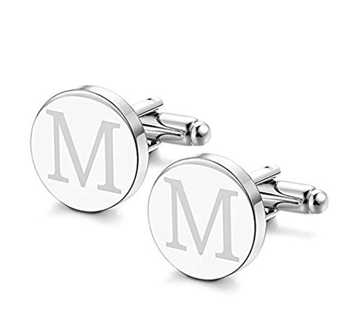Personalized Silver Cufflinks (FUJIN 925 Sterling Silver Personalised Men's Cuff links Customized Any Initial)