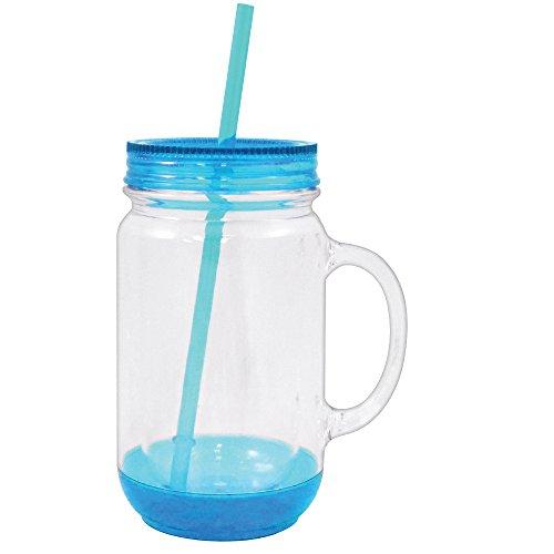 Mason Jar with Lid Plastic Tumbler Drinking Cup Mug with Straw 18 oz (Light Blue) -  Rockin Gear