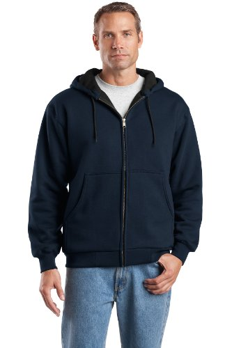 avyweight Full Zip Hooded Sweatshirt with Thermal L Navy (100% Cotton Hooded Top)