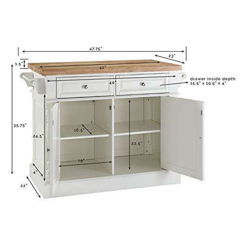 Crosley Furniture Kitchen Island with Butcher Block Top - White by Crosley Furniture (Image #7)