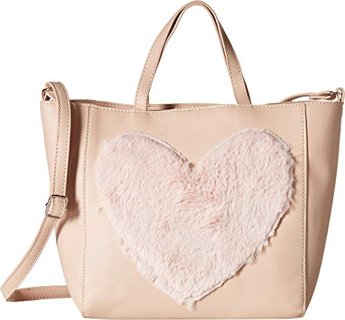 (T-Shirt & Jeans Womens Tote with Faux Fur Heart, blush)