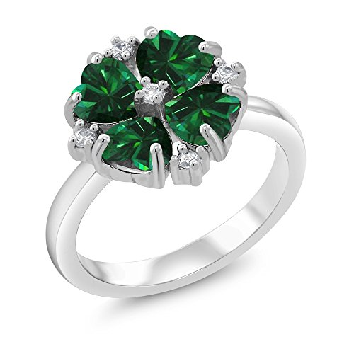 (Gem Stone King 925 Sterling Silver Green Simulated Emerald Women's Ring 1.48 Ct Heart Shape (Size 7))