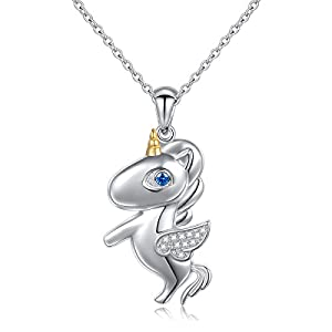 LINLIN FINE JEWELRY 925 Sterling Silver Cute Flying Unicorn Pendant Necklace for Women Girls, 18 inch