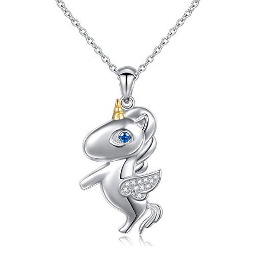 LINLIN FINE JEWELRY 925 Sterling Silver Cubic Zirconia Flying Unicorn Pendant Necklace for Women Girl, 18 inch (Circle) (Cubic Zirconia Pendant Jewelry)