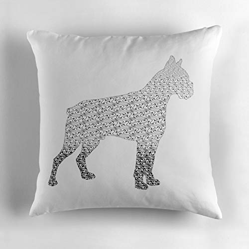 Jidmerrnm Cane Corso Mastiff Black and White Flames Pattern Tribal Design 1 Square Decorative Cushion Cover Soft Cotton Throw Pillow Case Cover for Sofa Bedroom Home Office Car 18x18 Inch