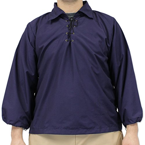 Renaissance Times Royal Knights Casual Shirt Middle Ages Costume Ren-Fair Blue (Middle Ages Costumes)