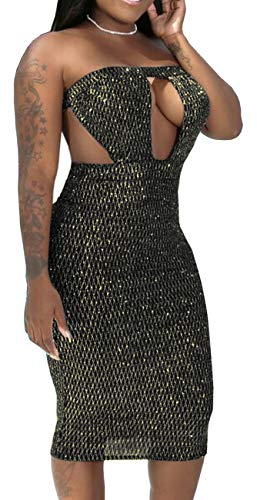Women's Sexy Sparkly Dress Elegant Tube Cut Out Bandage Backless Pencil Glitter Gown Stretchable Bodycon See Through Mesh Hollow Out Outfits Gold ()