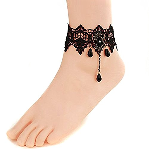 - Retro Lace Anklets Sexy Rhinestone Anklet Foot Sandal Beach Wedding Jewelry Lace Ankle Bracelet Women Anklet Bracelet for Girls Female