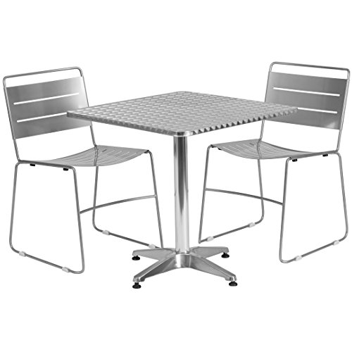 MFO 27.5'' Square Aluminum Indoor-Outdoor Table with 2 Silver Metal Stack Chairs