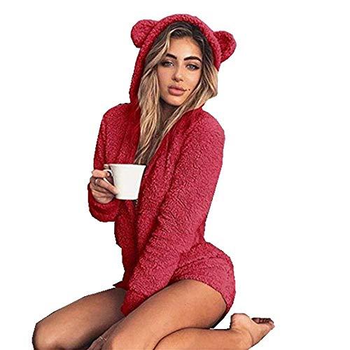 Ladies Cute Long Sleeve Sleepwear Fleece Hooded Cozy