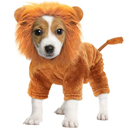Idepet Pet Costume,Halloween Dog Cosplay Lion Costume Christmas Puppy Small Dog Funny Cosplay Outfits,Cats Funny Apparel…