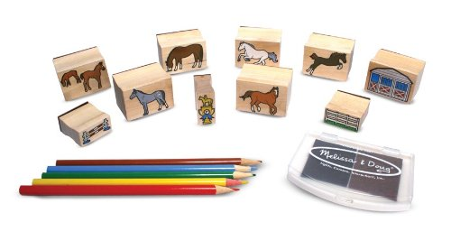 Melissa & Doug Wooden Stamp Activity Set: Horse Stable - 10 Stamps, 5 Colored Pencils, 2-Color Stamp Pad