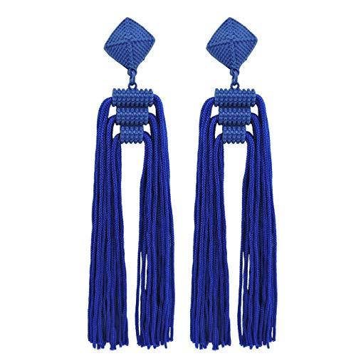 ead Tassels Dangle Drop Earrings for Women (ER1141-Royal Blue) ()