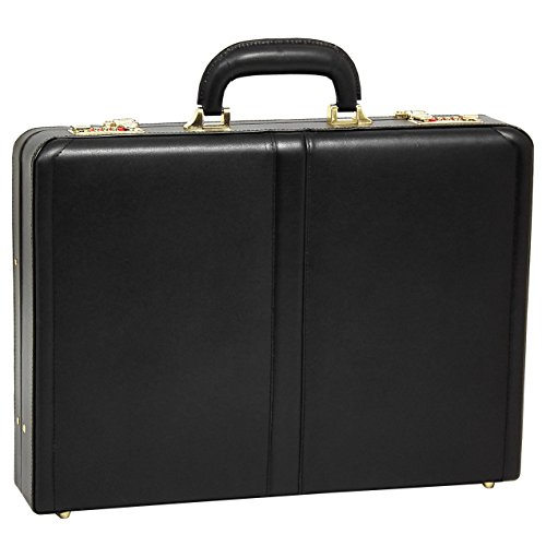 McKleinUSA Raegan [Personalized Initials Embossing] Leather 3.5'' Attache Briefcase in Black by McKlein