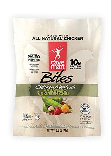 Caveman Foods Paleo Chicken Jerky Bites, Protein Snacks, Habanero & Green Chili, 2.5 Ounce Gluten-Free