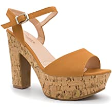 I Heart Footwear Buckle Ankle Strap Stacked Wooden Platform Heel Sandals, Trendy Shoes 4 Her