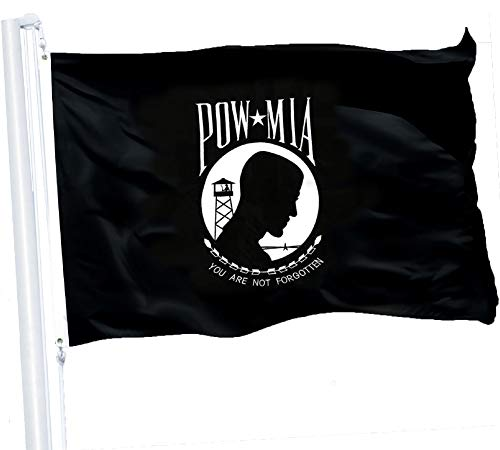 G128 - POW MIA Black Flag 3x5 Ft Printed 150D Polyester Flag You are Not Forgotten Prisoner War Brass Grommets Indoor/Outdoor - Much Thicker More Durable Than 100D 75D Polyester ()