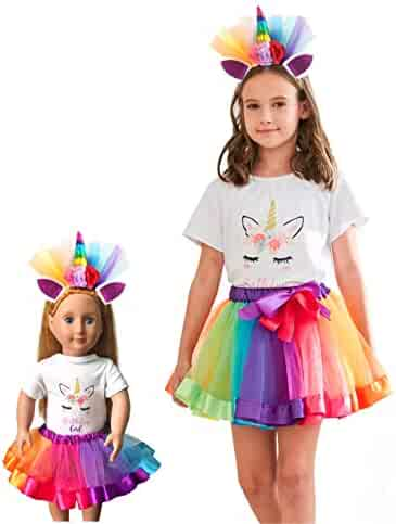 Girls Layered Tutu Skirt with Unicorn Tshirt, Headband & Satin Sash