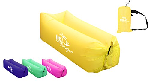 (US Lounger Yellow Fast Inflatable Portable Outdoor or Indoor Wind Bed Lounger, Air Bag Sofa, Air Sleeping Sofa Couch, Lazy Bed for Camping, Beach, Park, Backyard)