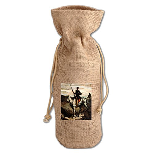 - Don Quixote Mountains (Honore Daumier) Jute Burlap Burlap Wine Drawstring Bag