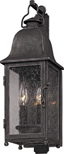 - Troy Lighting Larchmont 2-Light Outdoor Wall Lantern - Aged Pewter Finish with Clear Seeded Glass