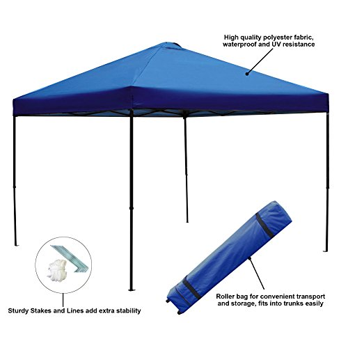 Picnic Roller - Blissun 10 x 10 Ft Outdoor Portable Instant Pop-Up Canopy Tent with Roller Bag (Blue)