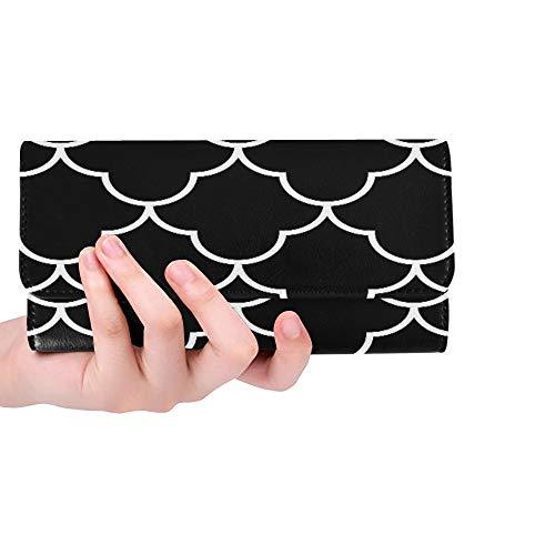Sox Black Tri Fold Wallet - Unique Custom Black And White Arabic Traditional Geometric Quatr Women Trifold Wallet Long Purse Credit Card Holder Case Handbag